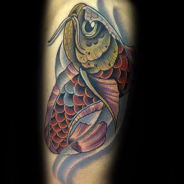 Male With Cool Arowana Tattoo Design On Leg