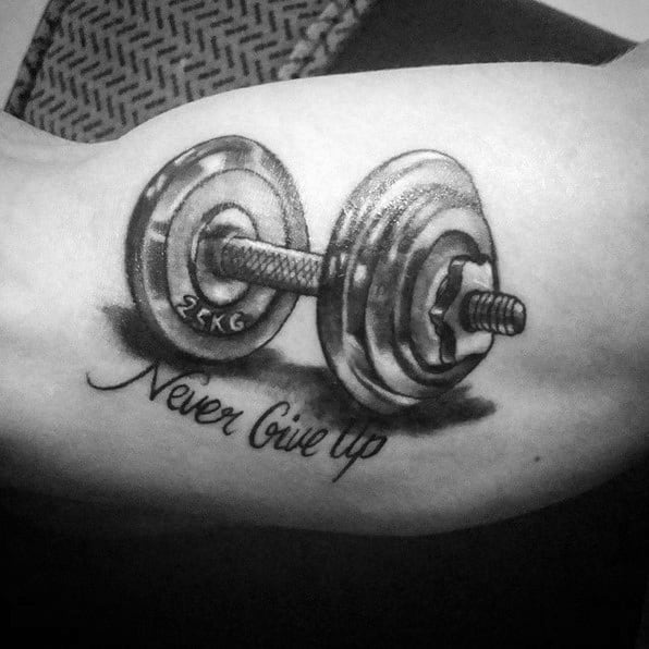 Male With Cool Barbell Tattoo Design
