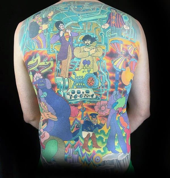 Male With Cool Beatles Tattoo Design On Back