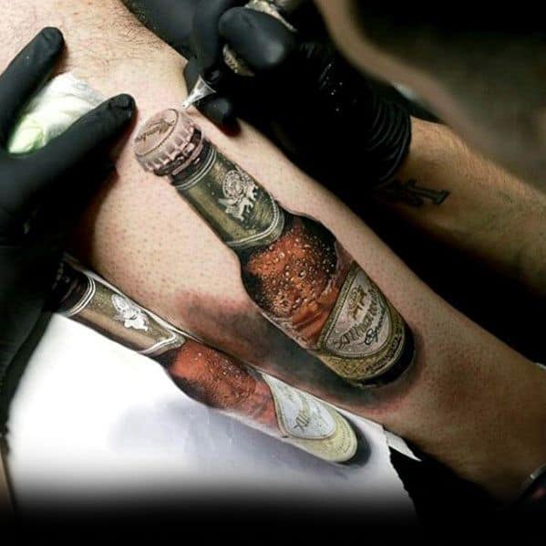 Male With Cool Beer Bottle Greatest Tattoo Design