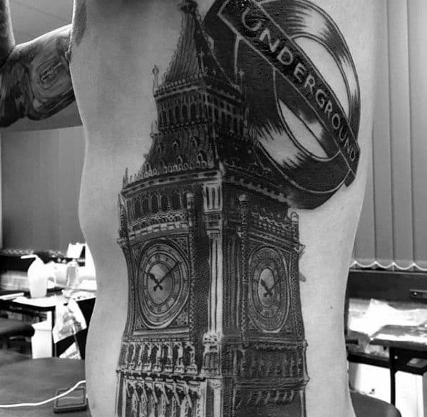 Male With Cool Big Ben Tattoo Design