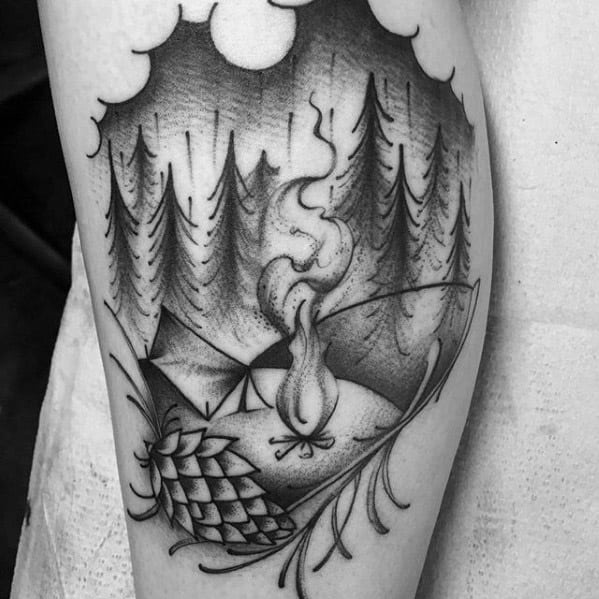 Male With Cool Black And Grey Ink Leg Camping Tattoo Design