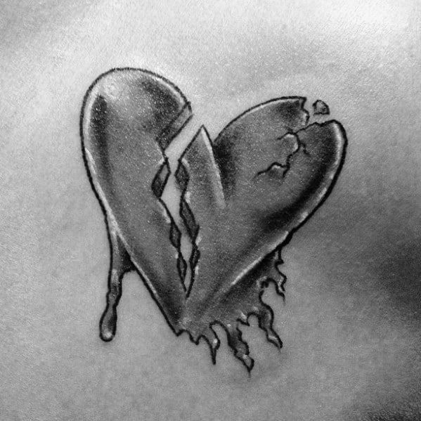Male With Cool Broken Heart Tattoo Design On Chest