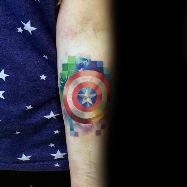 Male With Cool Captain America Shield Pixel Tattoo Design On Inner Forearm