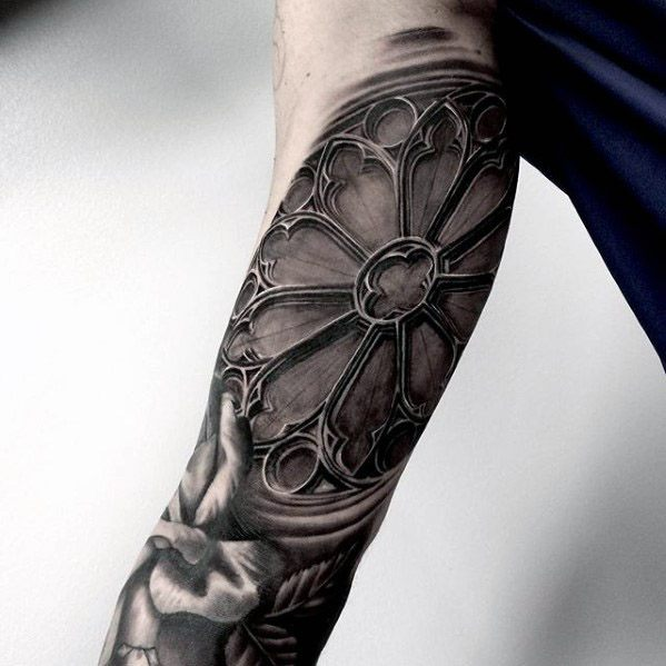 Male With Cool Cathedral Tattoo Design