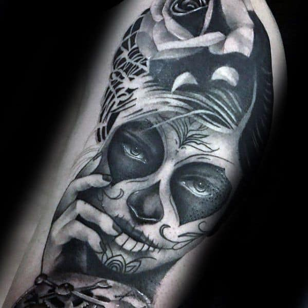 Male With Cool Catrina Tattoo Design