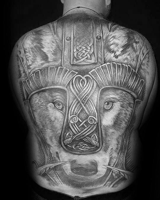 Male With Cool Celtic Wolf Tattoo Design