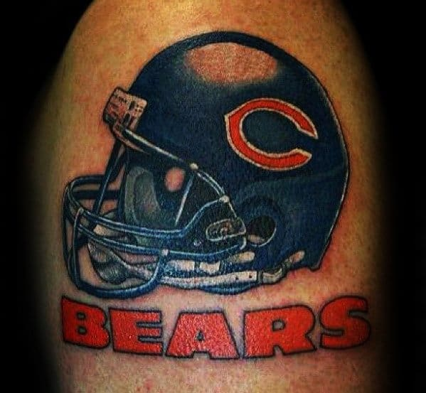 Male With Cool Chicago Bears Nfl Helmet Tattoo Design