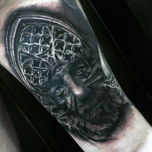 Male With Cool Church Window Surrealism Tattoo Design
