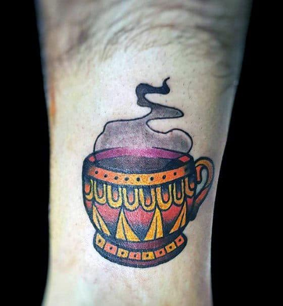 Male With Cool Coffee Cup Forearm Old School Small Tattoo Design