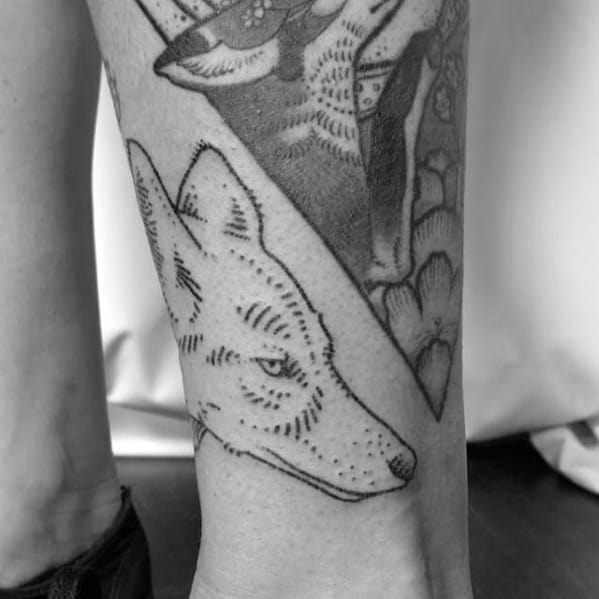 Male With Cool Coyote Tattoo Design