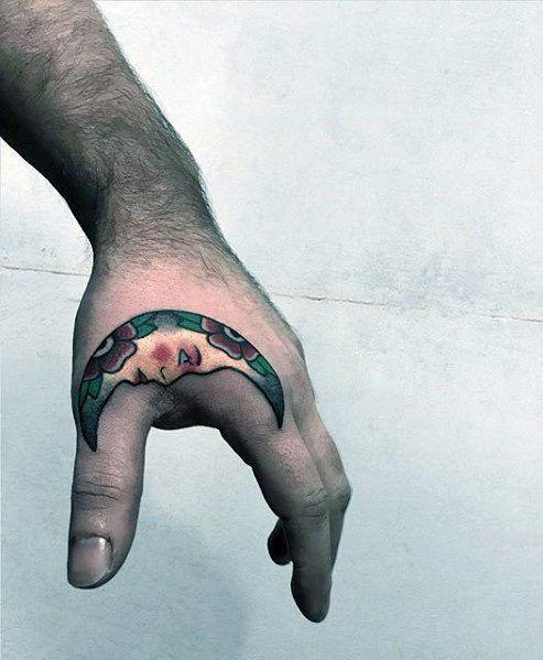 Male With Cool Cresent Half Moon Side Hand Tattoo Design