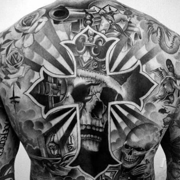 Male With Cool Cross And Skull Back Tattoo Design