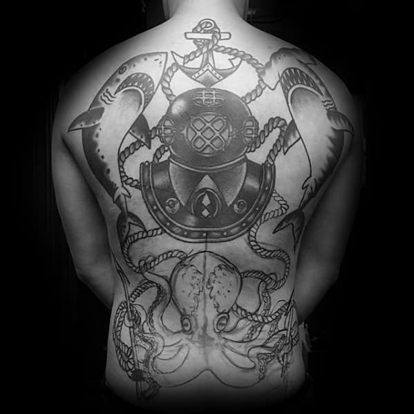 Male With Cool Diving Helmet Tattoo Design Full Back