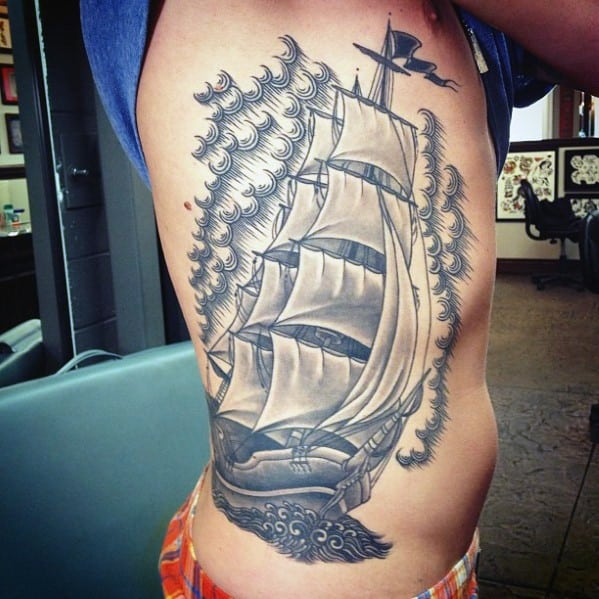 Male With Cool Epic Sailing Ship Rib Cage Tattoo Design