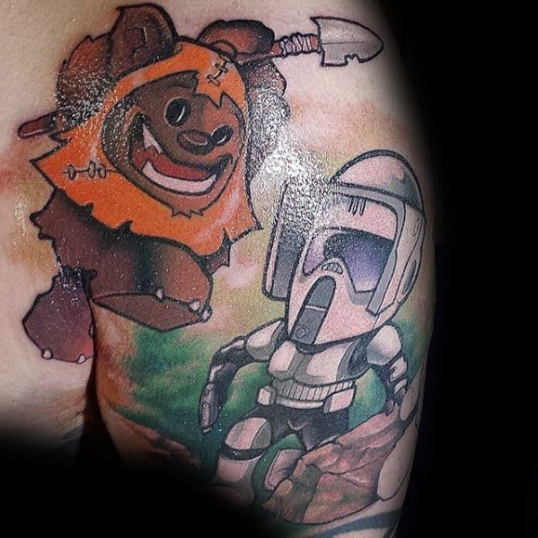 Male With Cool Ewok Tattoo Design