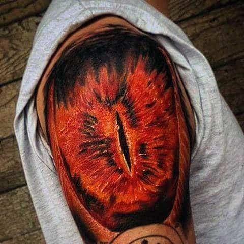 Male With Cool Eye Of Sauron Tattoo Design Quarter Sleeve