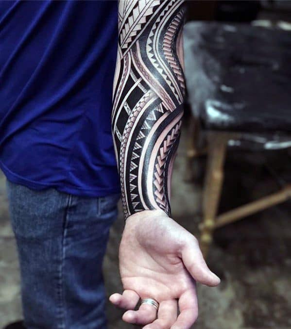Male With Cool Forearm Sleeve Badass Tribal Tattoo Design