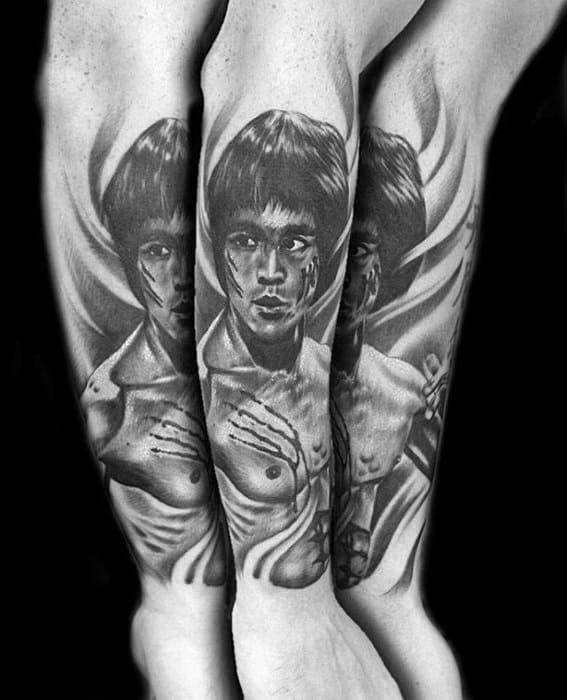 Male With Cool Forearm Sleeve Bruce Lee Tattoo Design