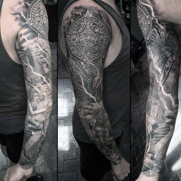Male With Cool Full Arm Sleeve Shaded Mayan Calender Tattoo Design