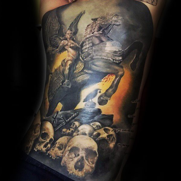 Male With Cool Full Back 3d Skulls Valkyrie Tattoo Design