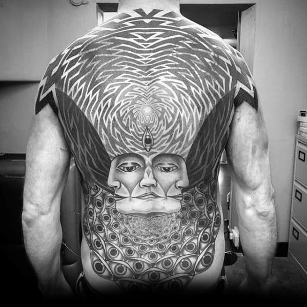 Male With Cool Full Back Pattern Geometric Consciousness Tattoo Design