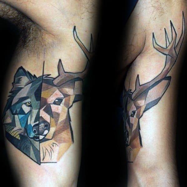 Male With Cool Geometric Animal Tattoo Design