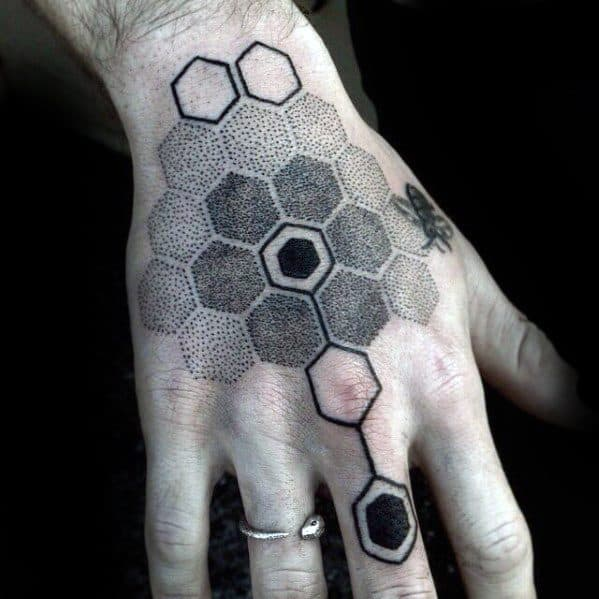 Male With Cool Geometric Hexagon Shapes Hand Tattoo Design