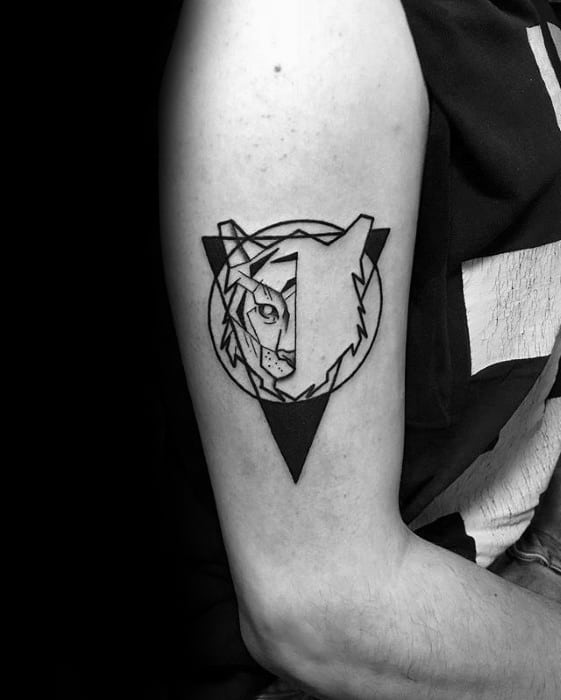 Male With Cool Geometric Tiger Tattoo Design