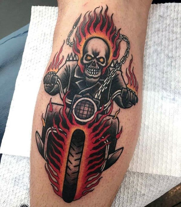 Male With Cool Ghost Rider Tattoo Design