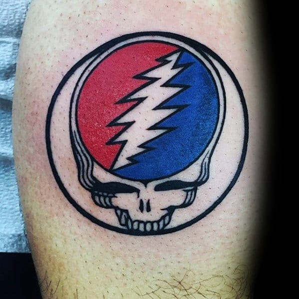 Male With Cool Grateful Dead Logo Tattoo Design On Leg Calf
