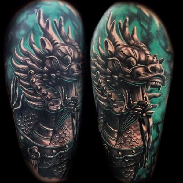 Male With Cool Half Sleeve Kirin Tattoo Design