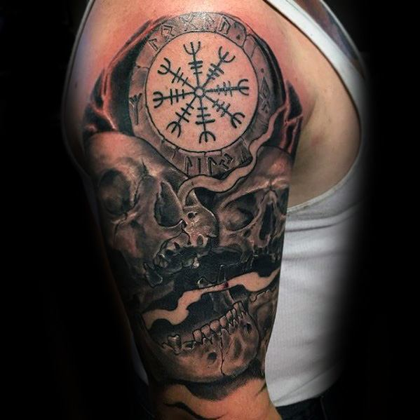 Male With Cool Half Sleeve Skull Helm Of Awe Tattoo Design