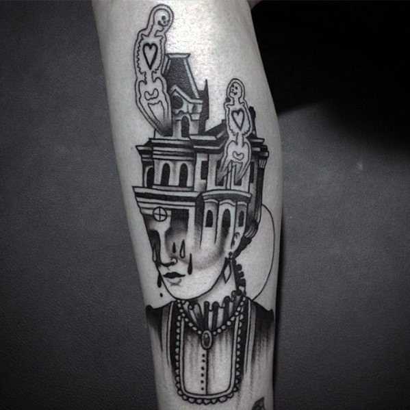 Male With Cool Haunted House Tattoo Design