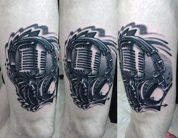 Male With Cool Headphones Tattoo Design On Thigh