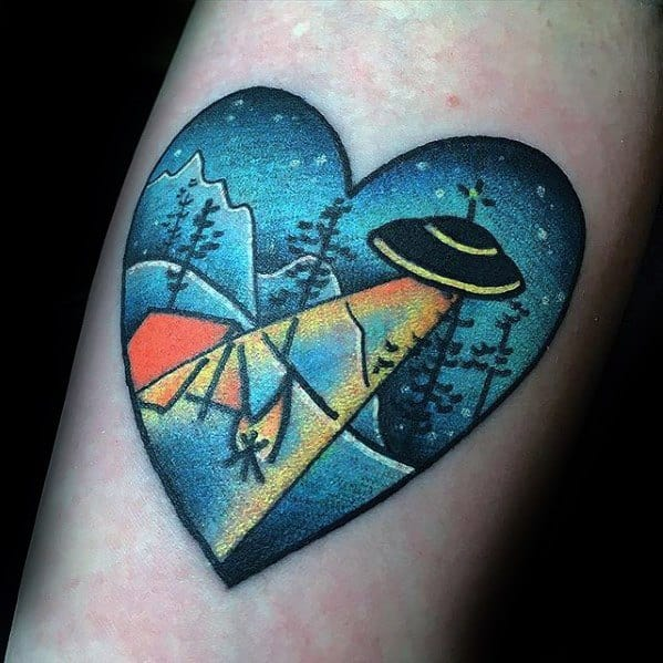 Male With Cool Heart Alien Spaceship Night Sky Tent Tattoo Design Inner Forearm