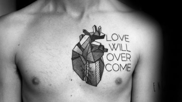 Male With Cool Heart Chest Love Will Overcome Tattoo Design