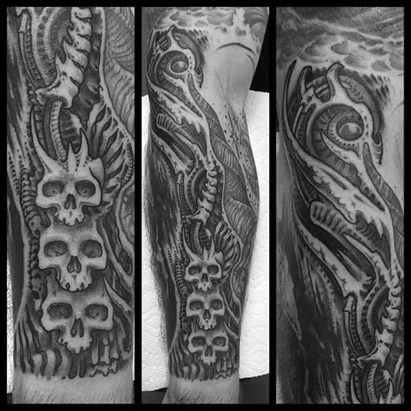 Male With Cool Hr Giger Tattoo Design