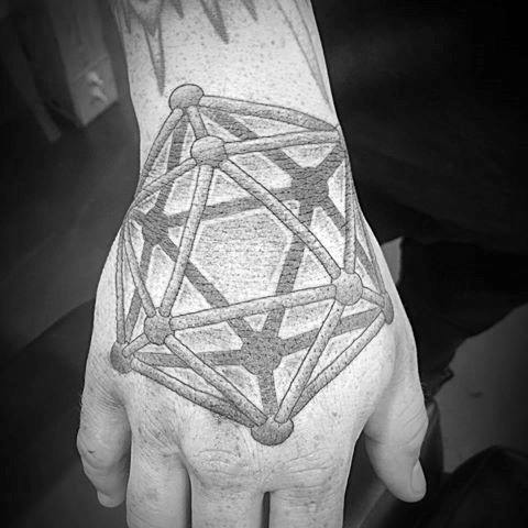 Male With Cool Icosahedron Tattoo Design