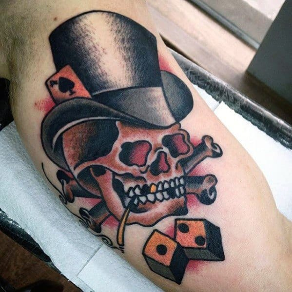 Male With Cool Inner Arm Bicep Skull With Top Hat Tattoo Design