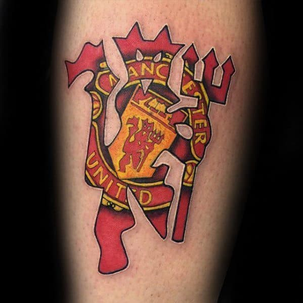 Male With Cool Inner Forearm Logo Manchester United Tattoo Design