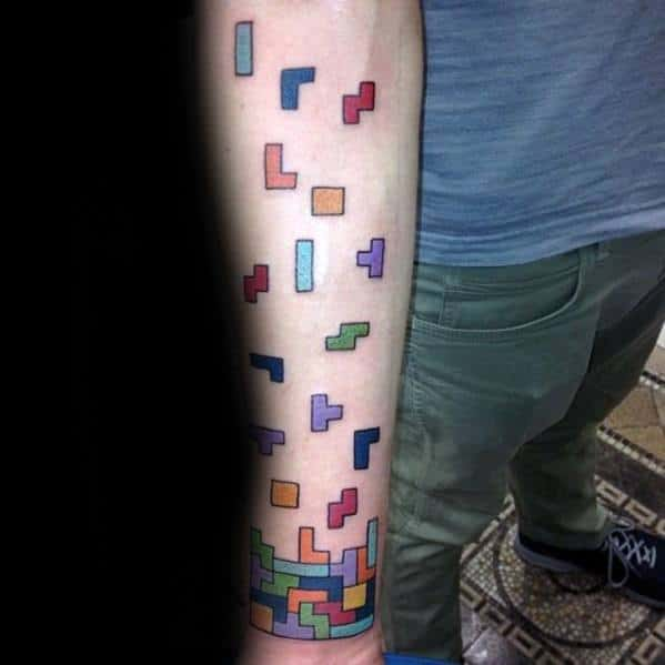 Male With Cool Inner Forearm Tetris Blocks Tattoo Design