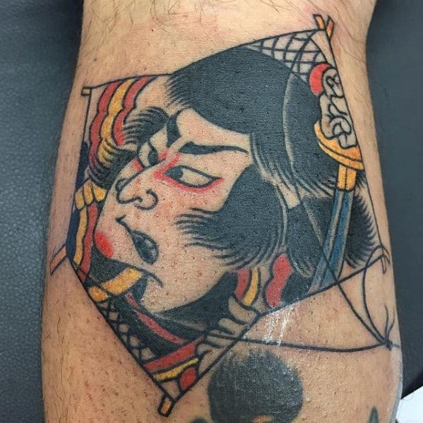 Male With Cool Japanse Leg Calf Kite Tattoo Design