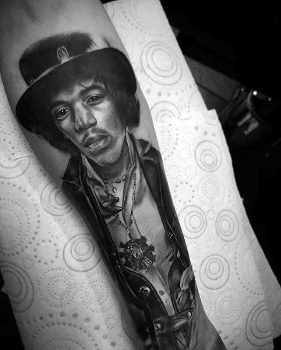 Male With Cool Jimi Hendrix Tattoo Design