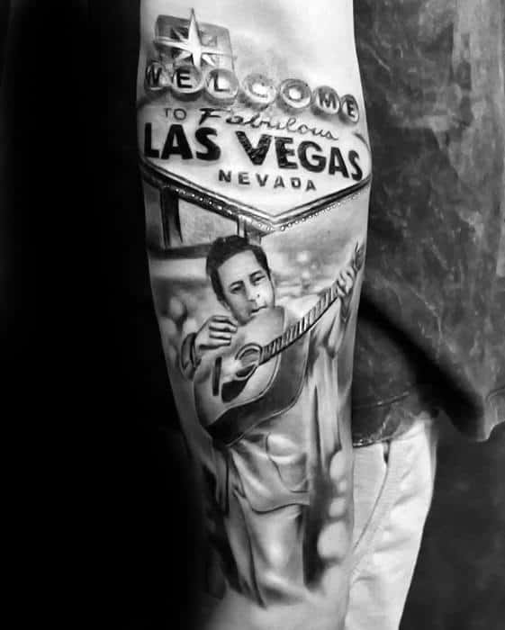Male With Cool Johnny Cash Las Vegas Sign Forearm Tattoo Design
