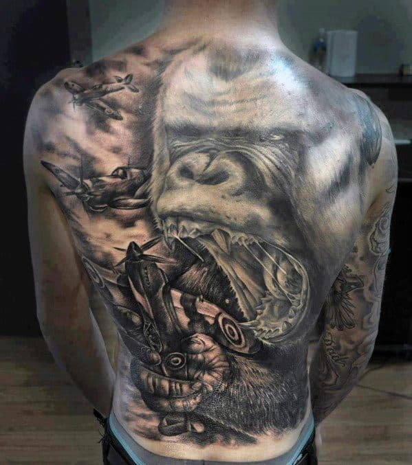 50 king kong tattoo designs for men furious gorilla ink