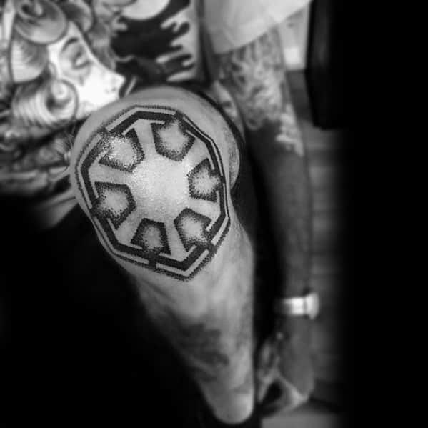 Male With Cool Knee Cap Sith Symbol Tattoo Design