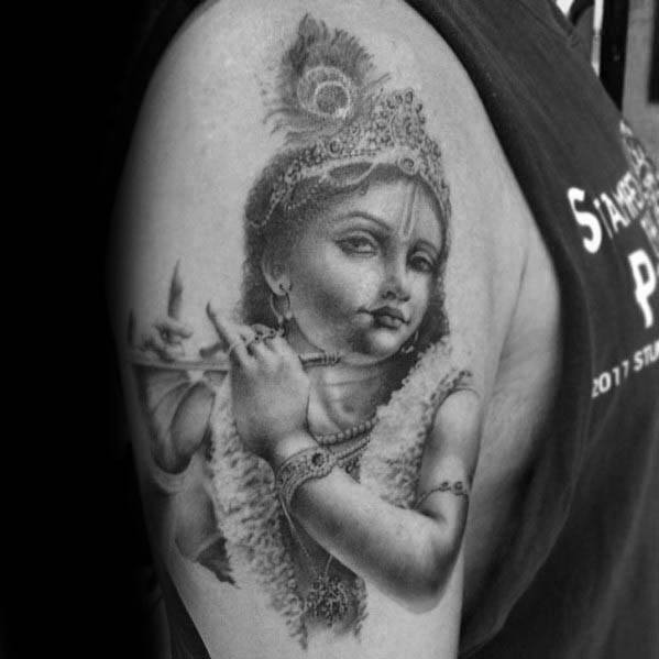 Male With Cool Krishna Tattoo Design On Arm