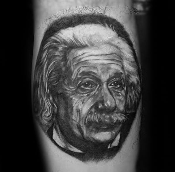 Male With Cool Leg Calf 3d Albert Einstein Tattoo Design