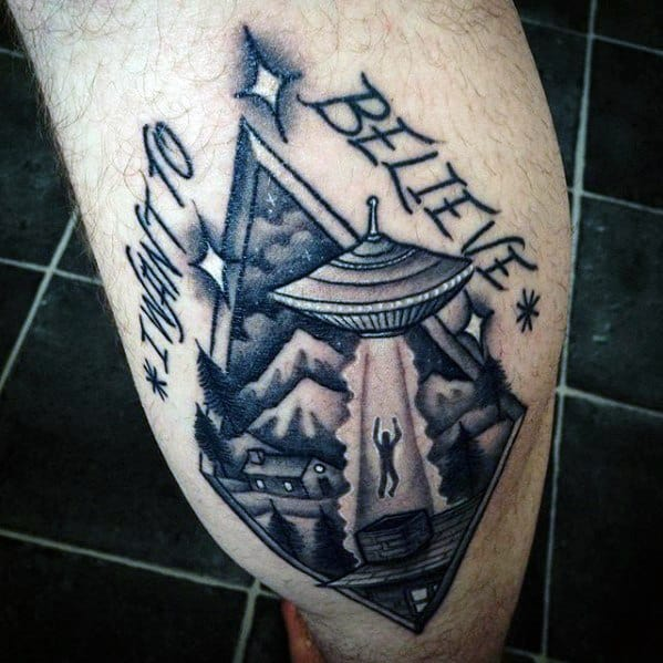 Male With Cool Leg Calf I Want To Believe Tattoo Design